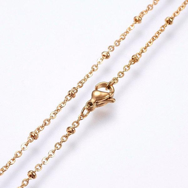 18 Inch Gold with beads Stainless Steel Cable Chain