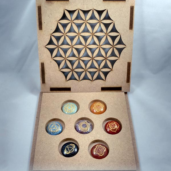 7 Chakra Carved Set w/ Flower of Life Box