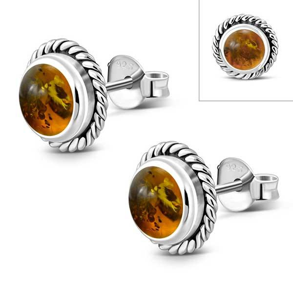 Amber Round Sterling Stud Earrings