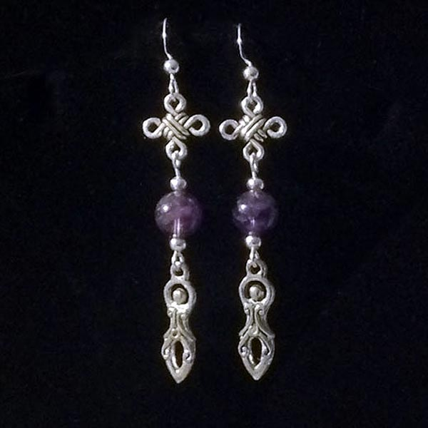 Amethyst Celtic Goddess Earrings