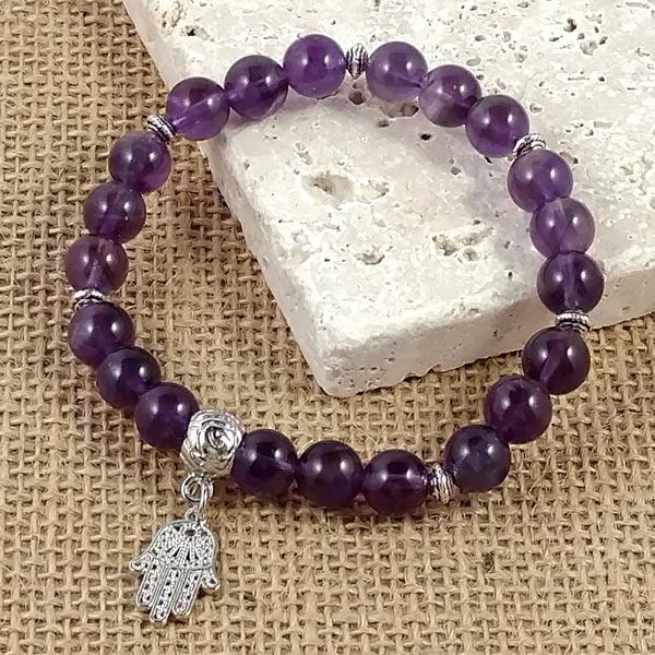 Stretchy Amethyst Chakra Mala Bracelet