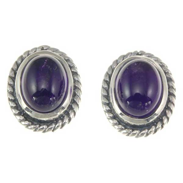 Amethyst Sterling Silver Oval Stud Earrings