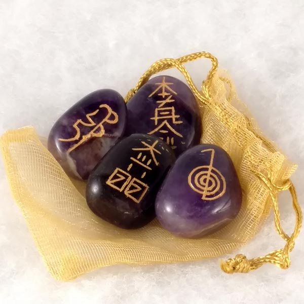 Amethyst Reiki Symbol Stones (set of 4)