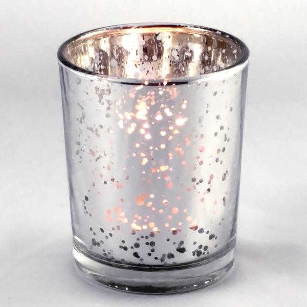 Antiqued Silver Glass Votive Holder