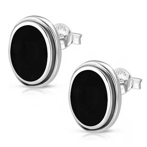 Sterling Black Onyx Oval Stud Earrings