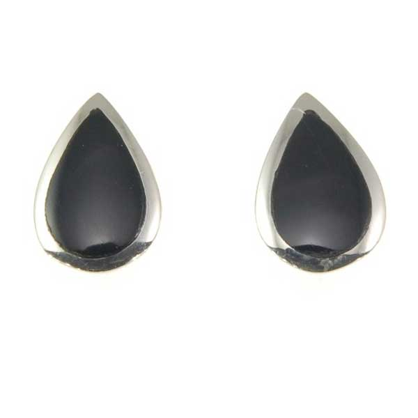 Black Onyx Sterling Teardrop Stud Earrings