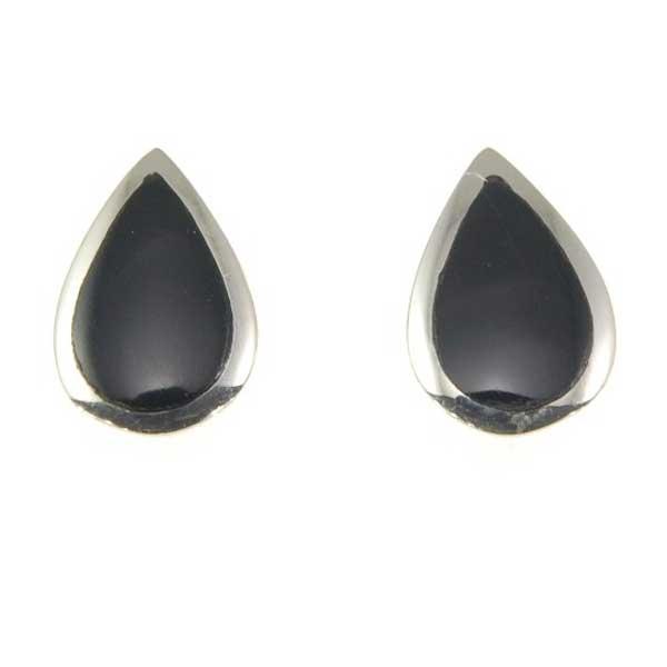 Black Onyx Sterling Teardrop Stud Earrings