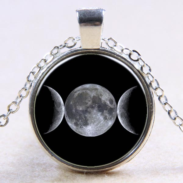 Glass Domed Necklace - Triple Moon on Black
