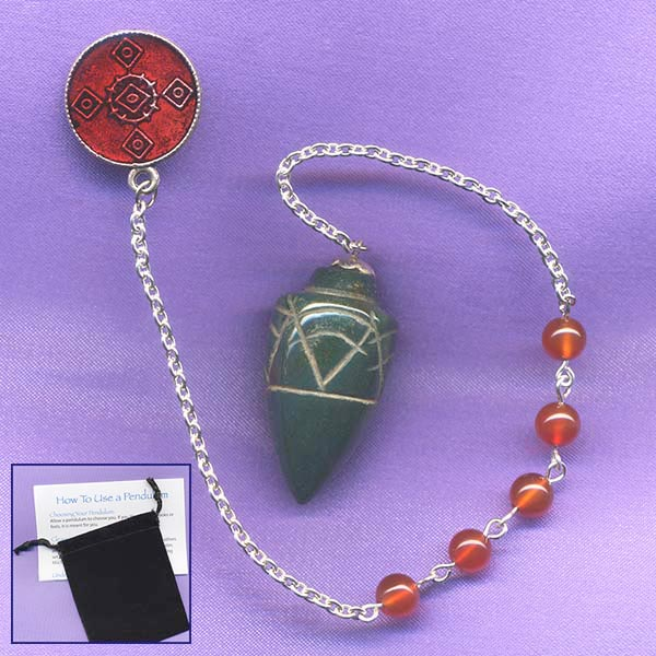 Bloodstone Carved with Carnelian Pendulum