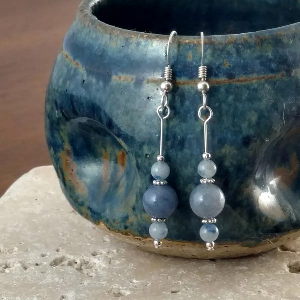 Blue Aventurine Dangle Earrings