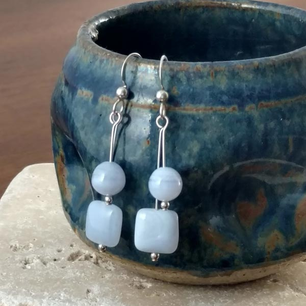 Blue Lace Agate Dangle Earrings