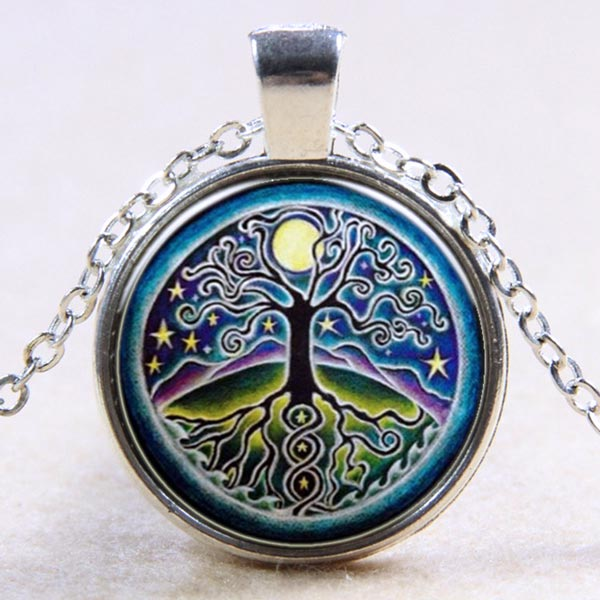 Tree of Life Domed Glass Pendant-Necklace