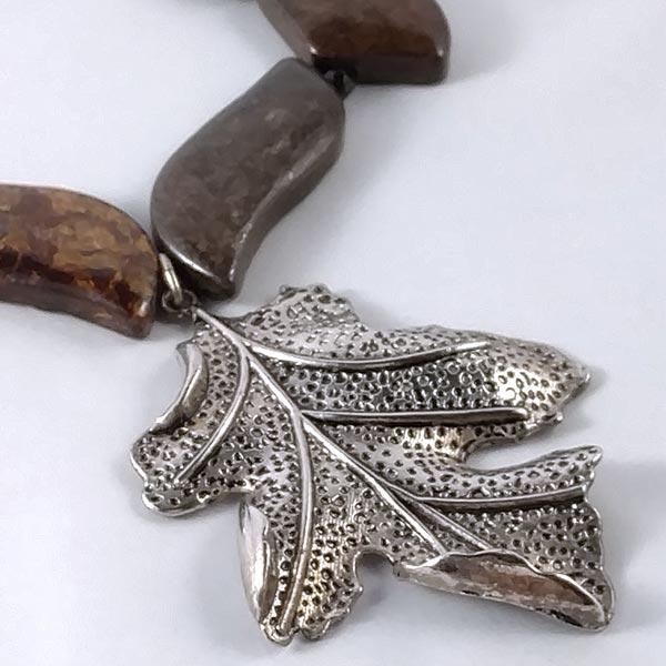 Bronzite Necklace with Tibetan Silver Leaf