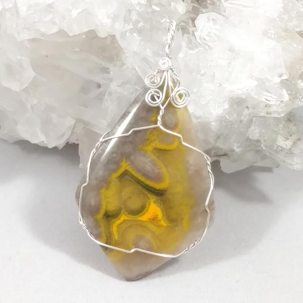 Bumble Bee Jasper Sterling Wrapped Pendant