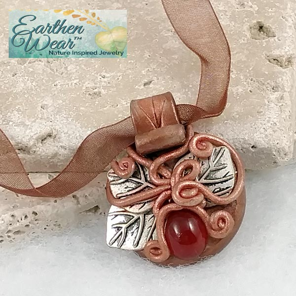 Carnelian Shield Earthenwear™ Pendant Necklace