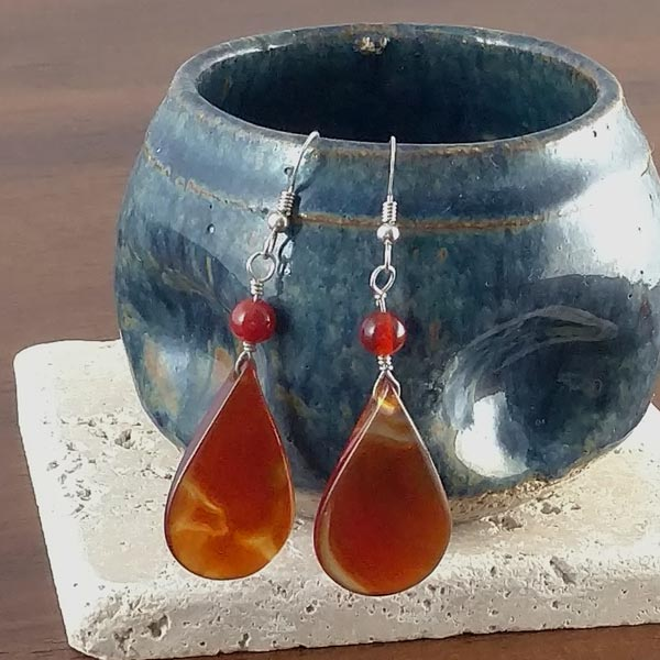 Carnelian Tear Drop Earrings