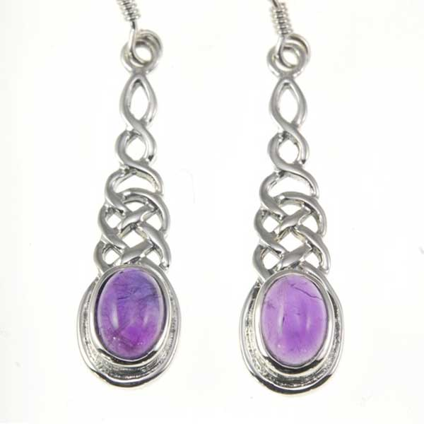 Sterling Celtic Dangle Amethyst Earrings