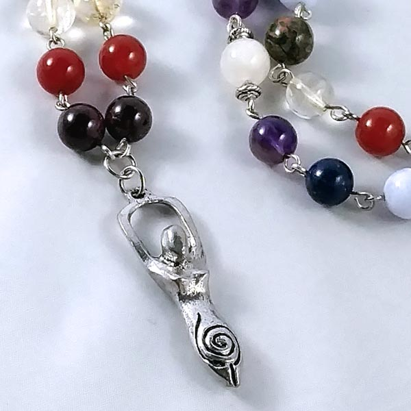 Chakra Balancing Necklace with Moonstone and Goddess Charm