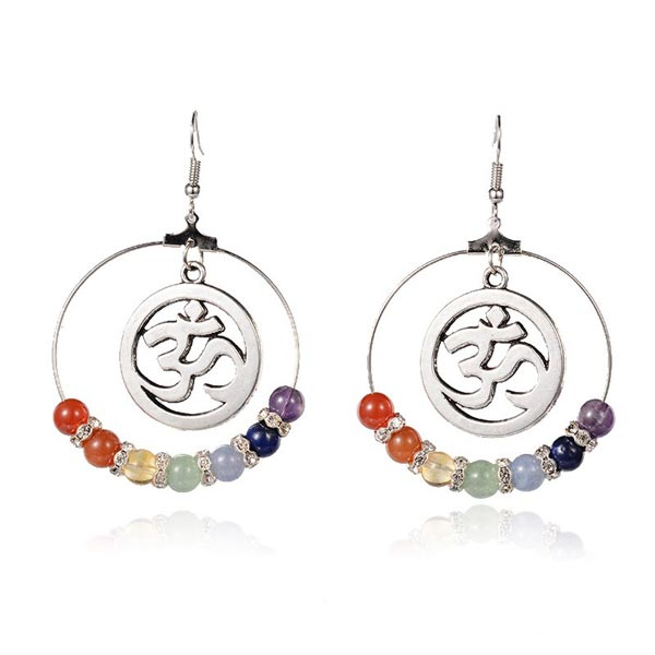 7 Chakra Om Hoop Earrings