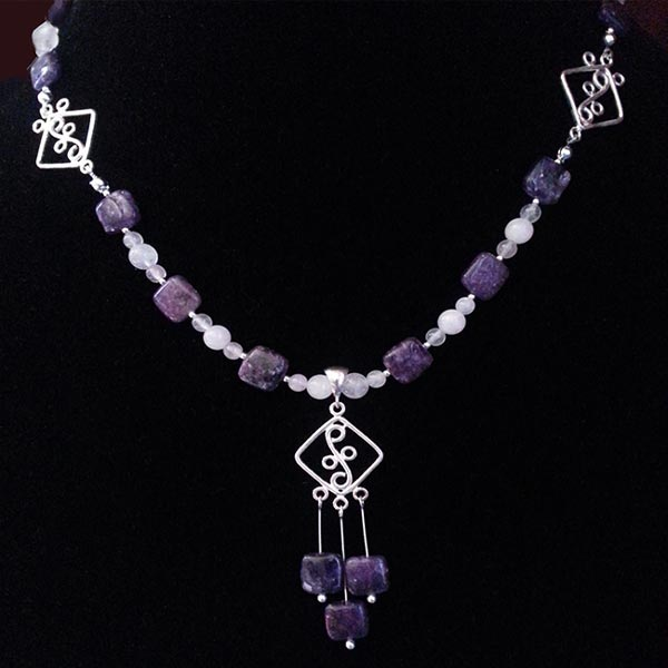 Charoite & Rose Quartz Sterling Silver Necklace