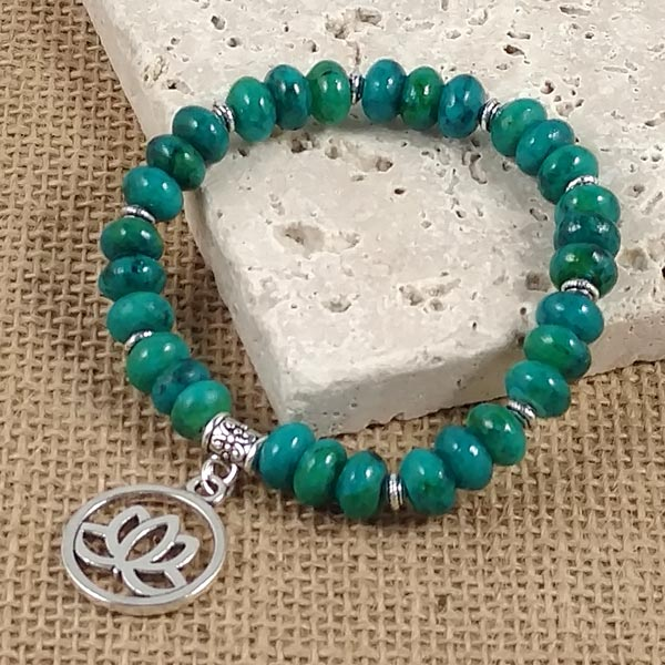 Chrysocolla Bracelets with Lotus Blossom Charm