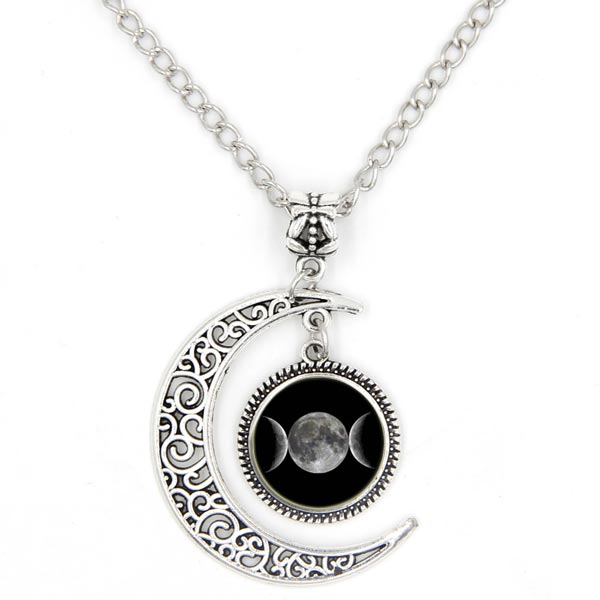 Crescent + Triple Moon Necklace