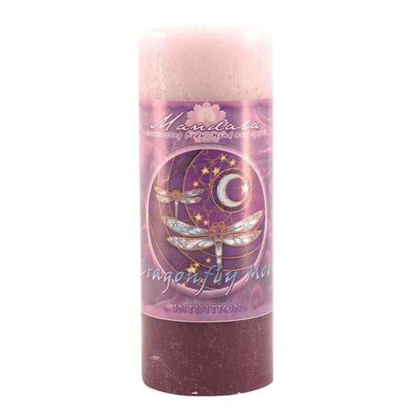 Dragonfly Moon Intuition Mandala Pillar Candle