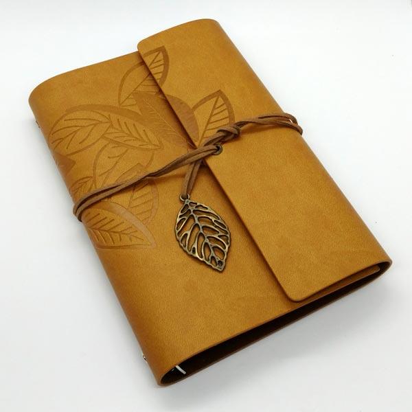 Saddle Brown Embossed Leaf Journal