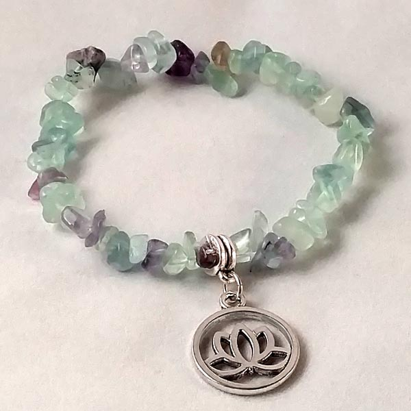 Stretchy Flourite Bracelet with Lotus Charm
