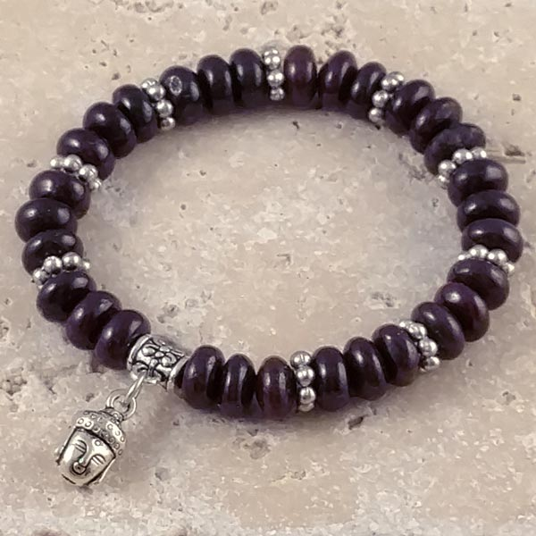 Stretchy Garnet Bracelet with Buddha Charm
