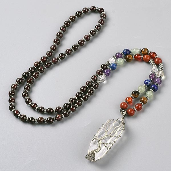 Garnet Tree of Life Pendant Necklace