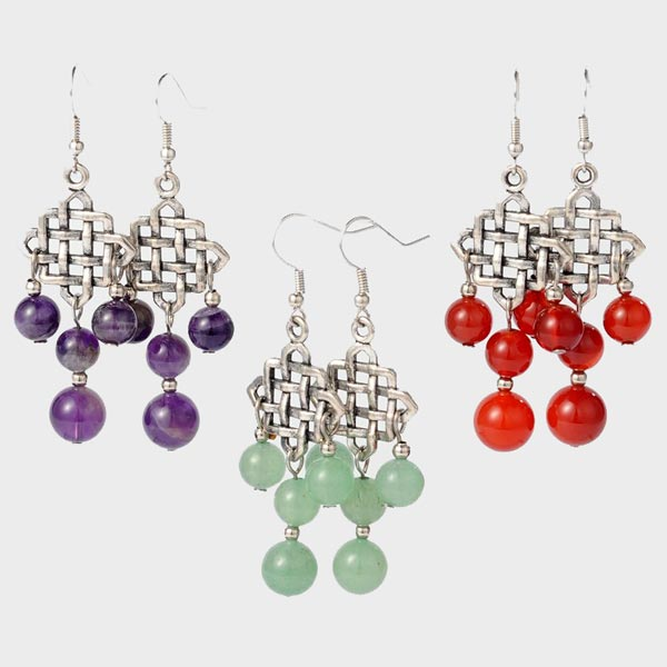 Tibetan Gemstone Dangle Earrings