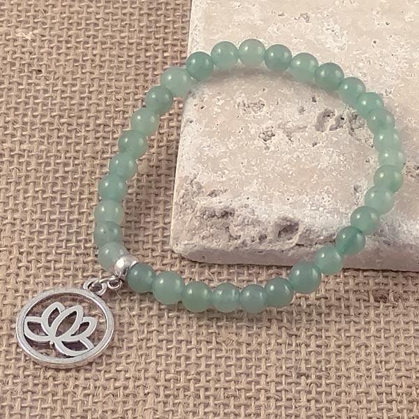 Green Aventurine Bracelet with Lotus Charm