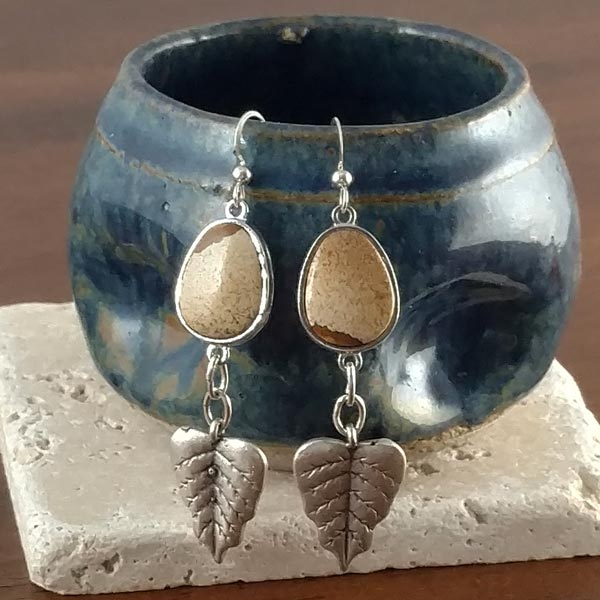 Picture Jasper with Leaves Earrings