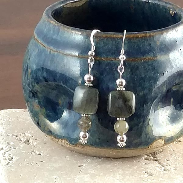 Labradorite Puffy Squares Earrings