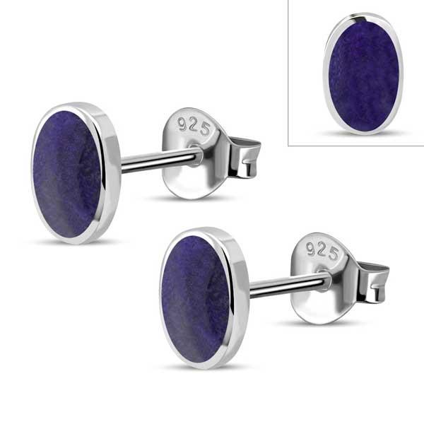 Sterling Lapis Lazuli Stud Earrings