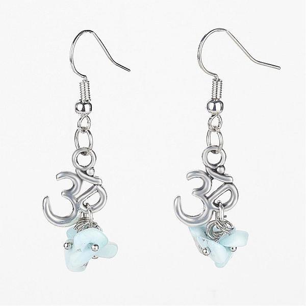 Larimar Om Dangle Earrings