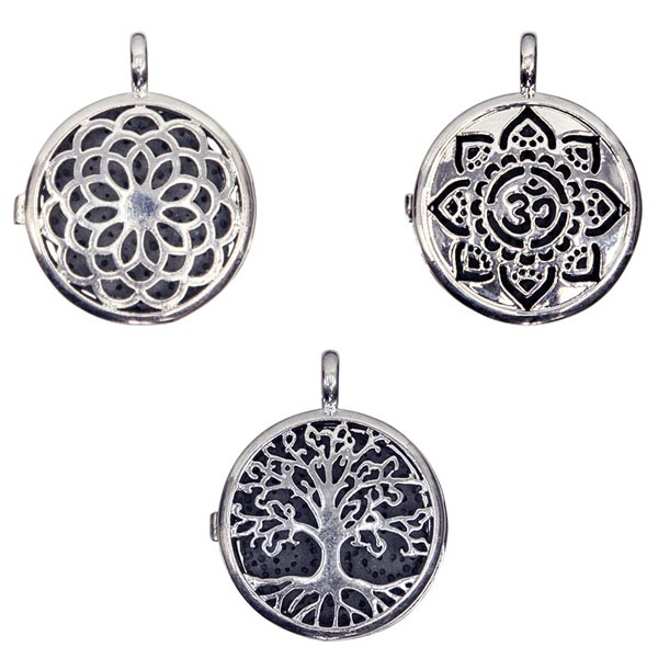 Silvertone Lockets with Lava Disk