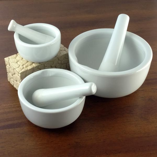 Ceramic Mortar & Pestle Set of 3