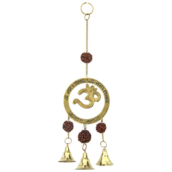 Om with Rudraksha Brass Bells Chime