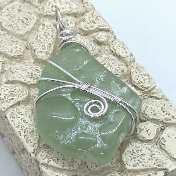 Prehnite Sterling Wrapped Pendant