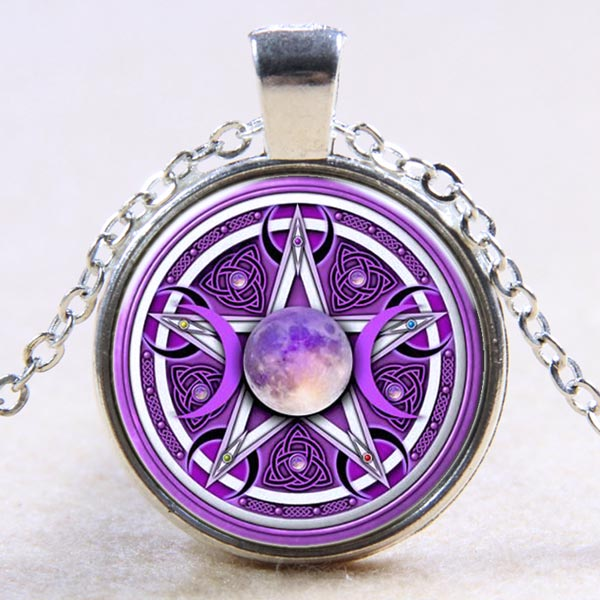 Glass Domed Necklace - Purple Triple Moon with Pentagram
