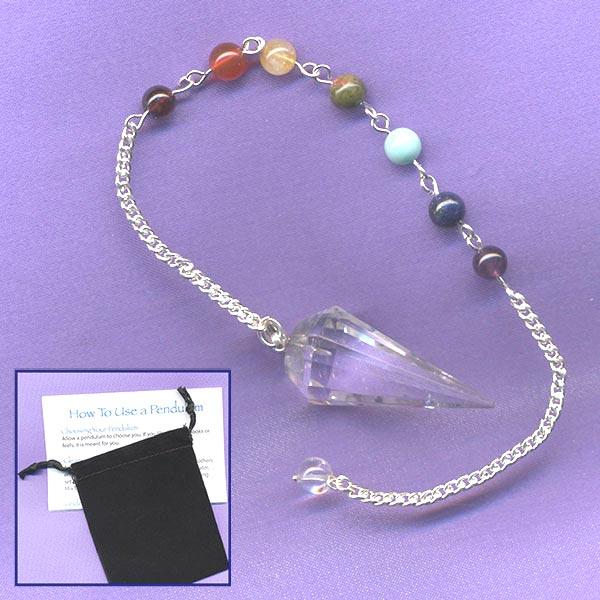 Quartz Faceted Chakra Pendulum
