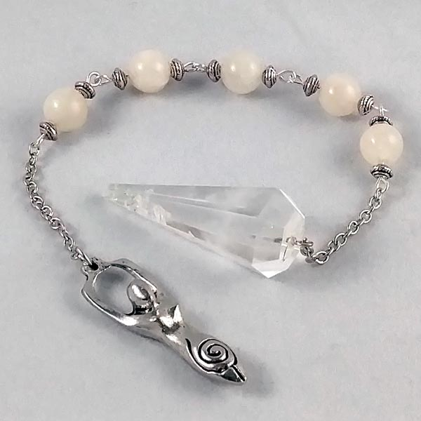 Quartz with Moonstone Goddess Pendulum