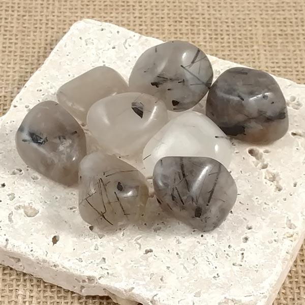 Tourmaline In Quartz Tumbled Stones