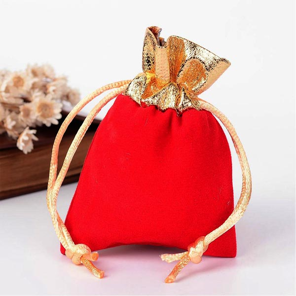 Red Velvet Gem/Jewelry Bag w/Gold Trims