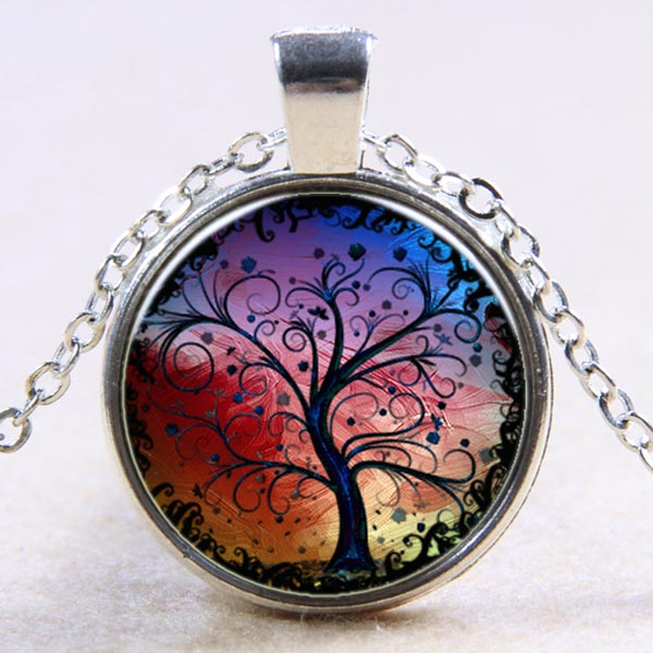 Red Domed Glass Tree of Life Necklace