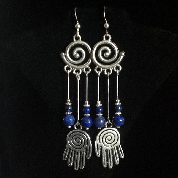 Lapis Lazuli with Reiki Hands Earrings
