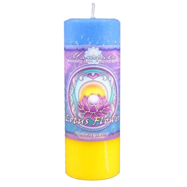 Renewal Lotus Flower Mandala Pillar Candle
