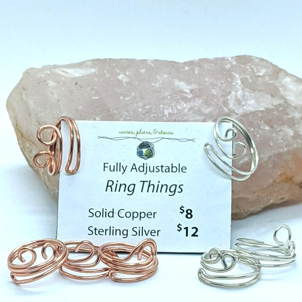 Sterling and Copper Wire Wrapped Rings